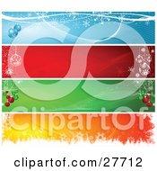 Clipart Illustration Of A Collection Of Blue Red Green And Orange Website Headers Or Banners With Snowflakes And Ornaments