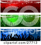 Clipart Illustration Of A Collection Of Red Green And Blue Website Headers Or Banners With Silhouetted Crowds Dancing And Snowflakes