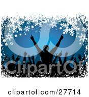 Clipart Illustration Of Silhouetted People Holding Their Arms Up At A Concert Over A Blue Background Bordered With White Snowflakes And Stars