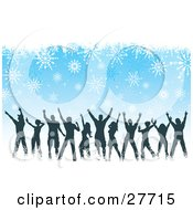 Clipart Illustration Of Silhouetted People Dancing At A Christmas Party Over A Blue Background With White Snowflakes