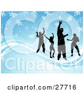 Clipart Illustration Of Four Silhouetted People Dancing On Waves Over A Blue Background With Falling White Snowflakes