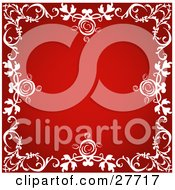 Clipart Illustration Of A Red Scrapbook Background Bordered By White Flourishes With Roses by KJ Pargeter