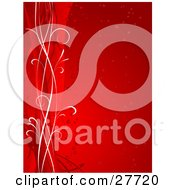 Clipart Illustration Of A Red Vertical Background Of Hearts And White And Red Lines Along The Left Edge