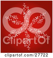 Clipart Illustration Of A Large White Snowflake With Intricate Designs Over A Gradient Red Background