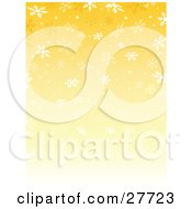 Clipart Illustration Of A Gradient Yellow Background With Falling White Snowflakes