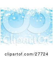 Clipart Illustration Of A Grunge Blue Background Of White Snowflakes Falling