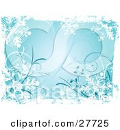 Clipart Illustration Of A Blue Wintry Background Of White Snowflakes And Curly Vines