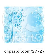 Clipart Illustration Of A Light Blue Background With Snowflakes And Vines
