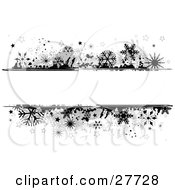 Clipart Illustration Of A Black And White Grunge Background Of Black And Gray Snowflakes And Stars Bordering A Blank White Text Box In The Center