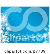 Clipart Illustration Of White Snowflakes And Ribbons Bordering A Blue Gradient Background