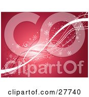 Clipart Illustration Of White And Red Lines Waving Diagonally Across A Pink And Red Background With Snowflakes