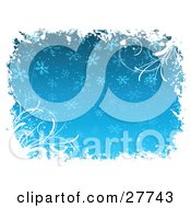 Clipart Illustration Of White Grasses And Grunge Bordering A Blue Background With Snowflakes