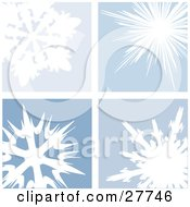 Clipart Illustration Of Four Unique White Snowflakes In Blue Squares