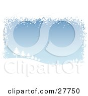 Clipart Illustration Of A Silhouetted Snow Covered Hill Of Evergreen Trees Over A Blue Background Bordered By White Snow