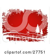 Clipart Illustration Of A Red Background Bordered By White Grunge Snowflakes Waves And Evergreen Trees