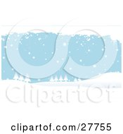 Clipart Illustration Of White Snow Falling Over Evergreen Trees And Hills With A Blue Background