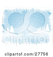 Clipart Illustration Of Snow Falling Over A Hilly Landscape With White Silhouetted Evergreen Trees