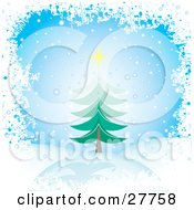 Clipart Illustration Of An Evergreen Christmas Tree Topped With A Yellow Star In A Hilly Landscape With Snow Falling From A Blue Sky