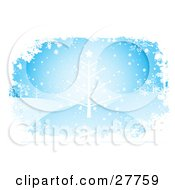 Clipart Illustration Of A White Star Adorned Christmas Tree In A Winter Hilly Landscape With Snowflakes Falling From The Blue Sky Bordered By White