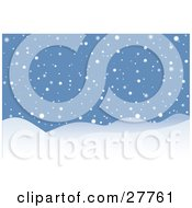 Clipart Illustration Of Snow Falling On Hills On A Wintry Night