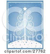 Clipart Illustration Of A Delicate White Scroll Christmas Tree With A Star On A Snowy Hilltop Over Blue