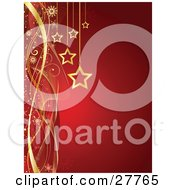 Golden Christmas Star Ornaments Hanging Over A Gradient Red Background With Snowflakes And Waves Of Red And Gold