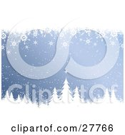 Clipart Illustration Of A Wintry Blue Background With Snow And Snowflakes Falling Over White Silhouetted Evergreen Trees