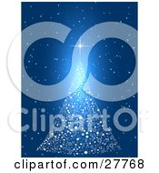 Clipart Illustration Of A White Christmas Tree Made Of Stars On A Blue Starry Night Background