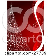 Clipart Illustration Of A White Christmas Tree Made Of Stars Topped With A Bright Sparkle Over A Red Background With A Border Of White And Red Waves And Swirls