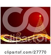 Clipart Illustration Of A Golden Christmas Tree On A Wave Of Yellow And Red Lines Over A Gradient Red Background