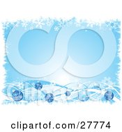 Light Blue Background Bordered With White Snowflakes And Blue Waves And Christmas Ornaments by KJ Pargeter