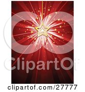 Bursting Red Background A Gold Star Christmas Ornament And Small Stars