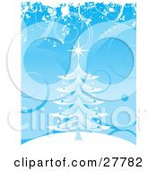 Clipart Illustration Of A Blue Christmas Tree With A Star On A White Hilltop Over A Scrolled Blue Background by KJ Pargeter
