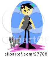 Clipart Illustration Of A Happy Girl With Black Hair Walking Her Cat On A Leash
