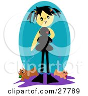 Clipart Illustration Of A Happy Girl With Black Hair Walking Two Dogs On Leashes by bpearth