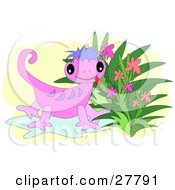 Cute Pink Gecko With Purple Stripes Sticking Its Tongue Out And Standing By Flowers