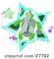 Clipart Illustration Of A Green Sea Turtle With Blue Designs Swimming Over A Star And Flowers