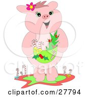 Clipart Illustration Of A Happy Pink Pig Standing And Holding A Basket With Candy Canes by bpearth