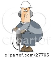 Clipart Illustration Of A White Man In A Hardhat And Ear Muffs Operating A Jackhammer At A Construction Site