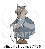 Clipart Illustration Of A Black Man In A Hardhat And Ear Muffs Operating A Jackhammer At A Construction Site