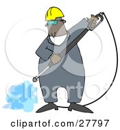 Clipart Illustration Of A Black Man Wearing Goggles And A Hardhat Spraying The Ground With A Heavy Duty Power Washer Machine by djart