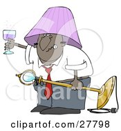 Snarling Drunk Black Man With A Purple Lamp Shade On His Head Holding A Light Fixture In One Hand And A Glass Of Wine In The Other