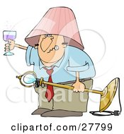Clipart Illustration Of A Snarling Drunk White Man With A Pink Lamp Shade On His Head Holding A Light Fixture In One Hand And A Glass Of Wine In The Other