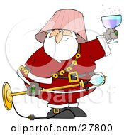 Clipart Illustration Of A Drunk Santa With A Pink Lamp Shade On His Head Holding A Light Fixture In One Hand And A Glass Of Wine In The Other