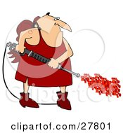 Clipart Illustration Of A Chubby Cupid Man With A Red Heart Tattoo On His Arm Operating A Power Washer With Hearts Spraying Out Of The End