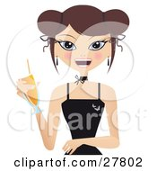 Happy Brunette Caucasian Woman In A Black Dress Smiling And Holding A Cocktail Beverage