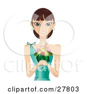 Clipart Illustration Of A Beautiful Brunette Caucasian Woman In A Green Evening Gown Wearing Diamond Earrings And A Necklace Smiling And Holding A Bouquet Of Flowers