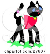 Clipart Illustration Of A Festive Black Kitty Cat Wearing A Christmas Shirt And An Ornament On Her Tail