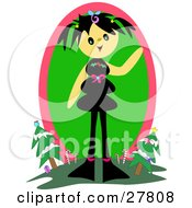 Clipart Illustration Of A Happy Girl With Black Hair Standing On A Hill And Waving With Christmas Trees And Candy Canes In The Background by bpearth