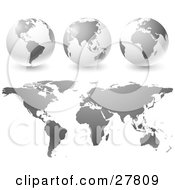 Clipart Illustration Of Gradient Gray Globes And Maps Over A White Background